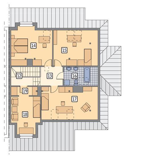 Rzut poddasza POW. 102,0 m²