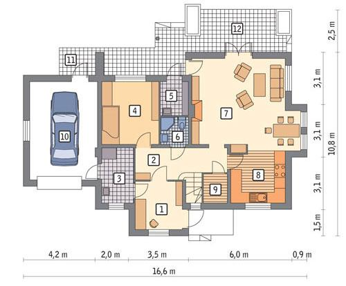 Rzut parteru POW. 104,6 m²