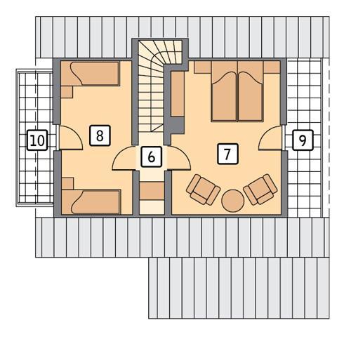 Rzut poddasza POW. 54,7 m²
