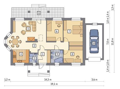 Rzut parteru POW. 126,0 m²