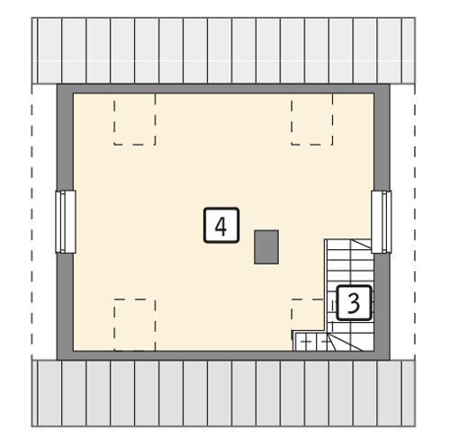 Rzut poddasza POW. 34,3 m²