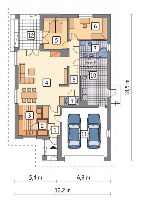 Rzut parteru: Wersja podstawowa POW. 153,3 m²