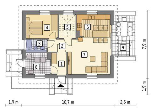 Rzut parteru POW. 63,1 m²