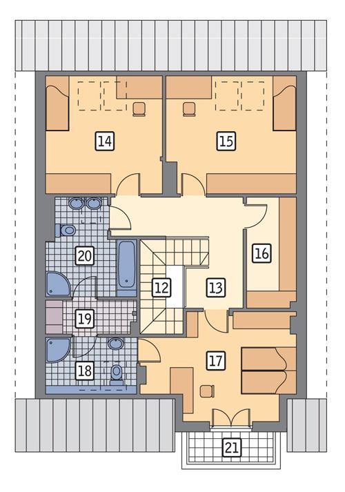 Rzut poddasza POW. 109,1 m²