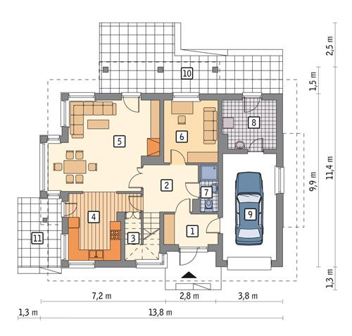 Rzut parteru POW. 95,0 m²