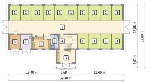 Rzut parteru POW. 382,2 m²