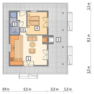 RZUT PARTERU POW. 37,2 m²